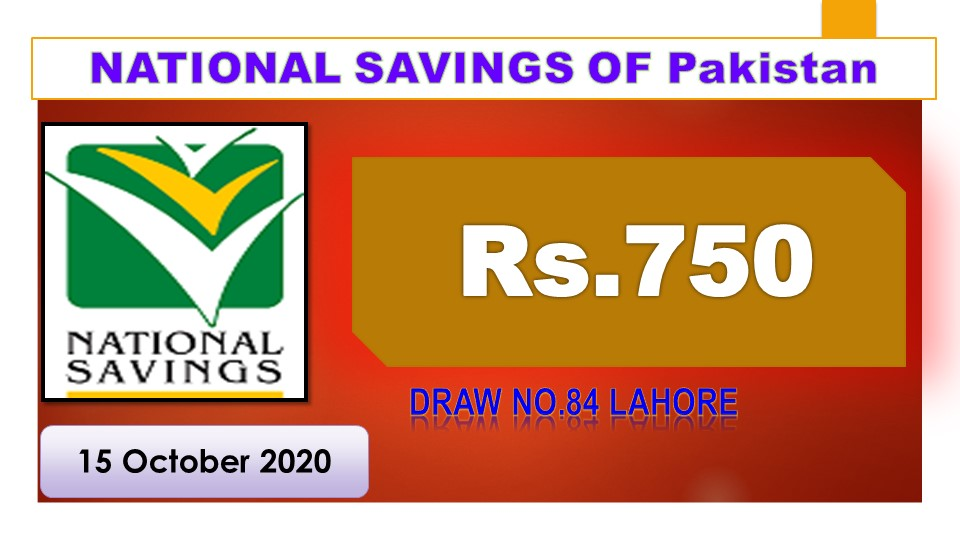 Draw 83, Rs. 750 Prize Bond List, Lahore On 15-10-2020