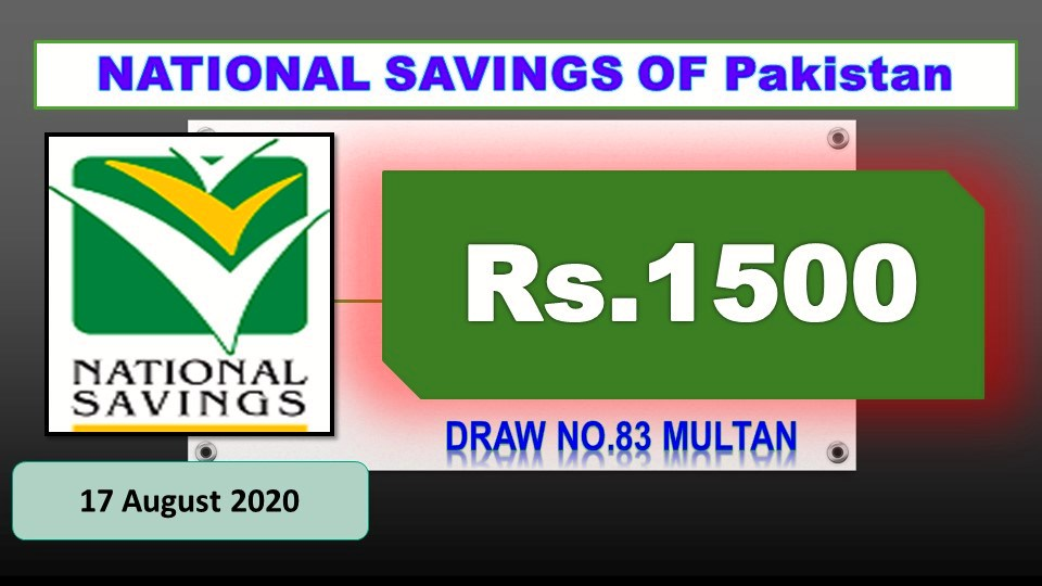 National Savings Rs. 1500 Prize bond full #83 draw result list 17 August 2020 Multan